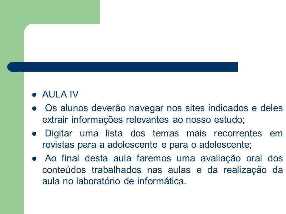 AULA IV Os alunos deverão navegar nos sites indicados e deles extrair informações relevantes ao nosso estudo;
