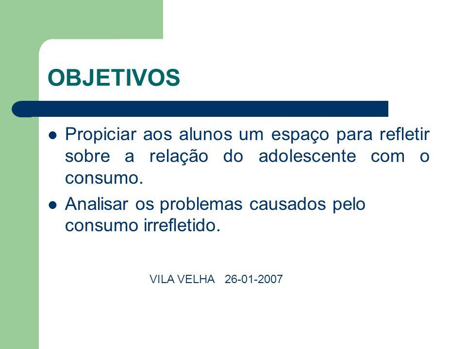 OBJETIVOS Propiciar aos alunos um espaço para refletir sobre a relação do adolescente com o consumo.