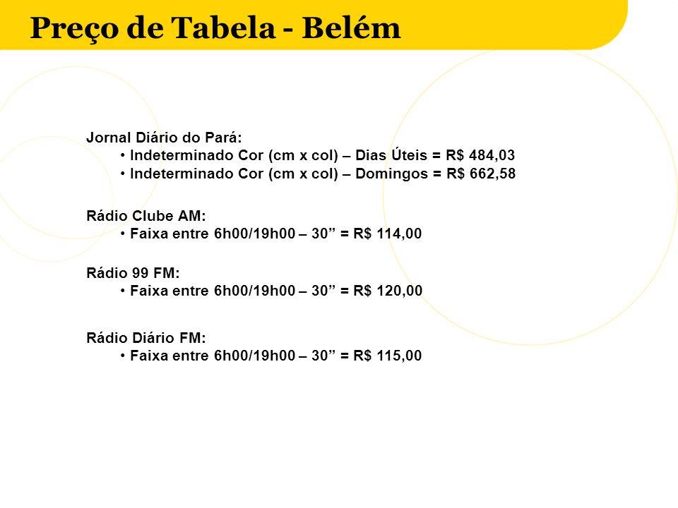 Preço de Tabela - Belém Jornal Diário do Pará: