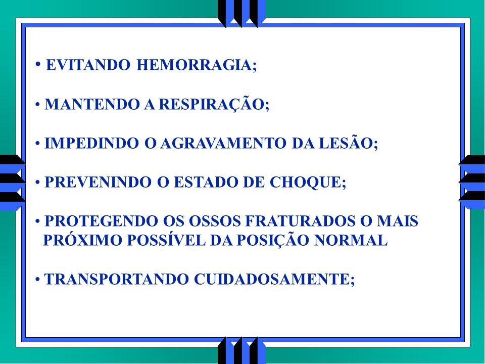 EVITANDO HEMORRAGIA; MANTENDO A RESPIRAÇÃO;