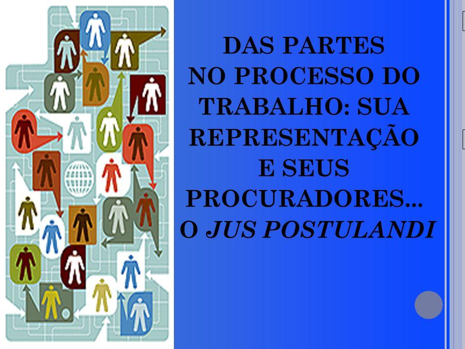 20/05/09 DAS PARTES NO PROCESSO DO TRABALHO: SUA REPRESENTAÇÃO E SEUS PROCURADORES...