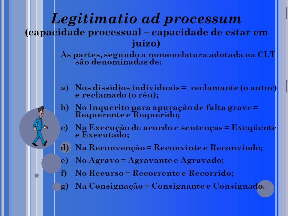 Legitimatio ad processum (capacidade processual – capacidade de estar em juízo)