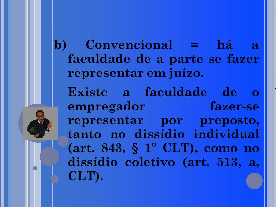 20/05/09 b) Convencional = há a faculdade de a parte se fazer representar em juízo.