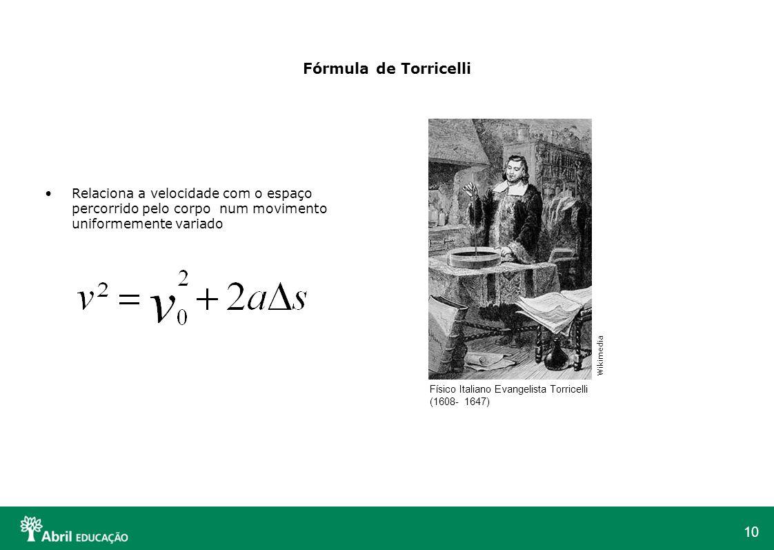 Fórmula de Torricelli Relaciona a velocidade com o espaço percorrido pelo corpo num movimento uniformemente variado.