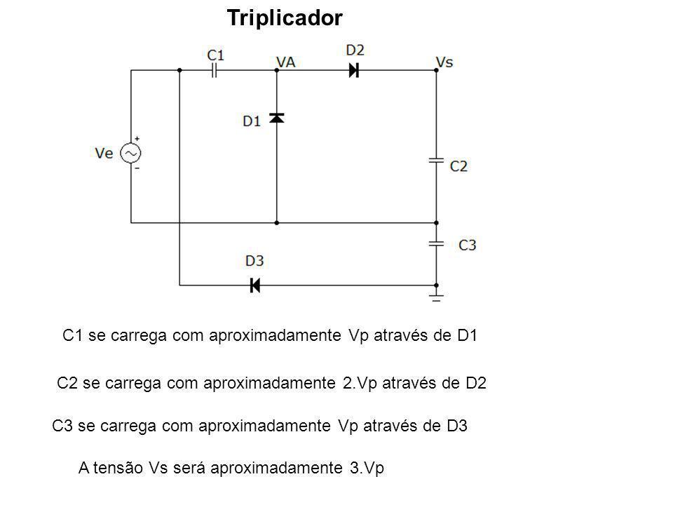Triplicador C1 se carrega com aproximadamente Vp através de D1