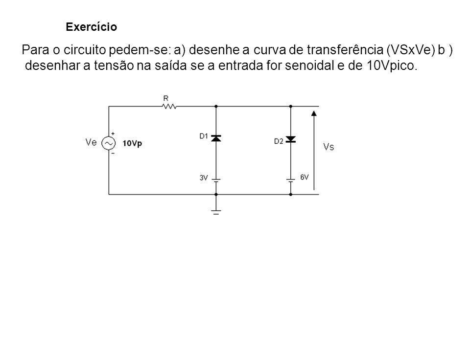 desenhar a tensão na saída se a entrada for senoidal e de 10Vpico.