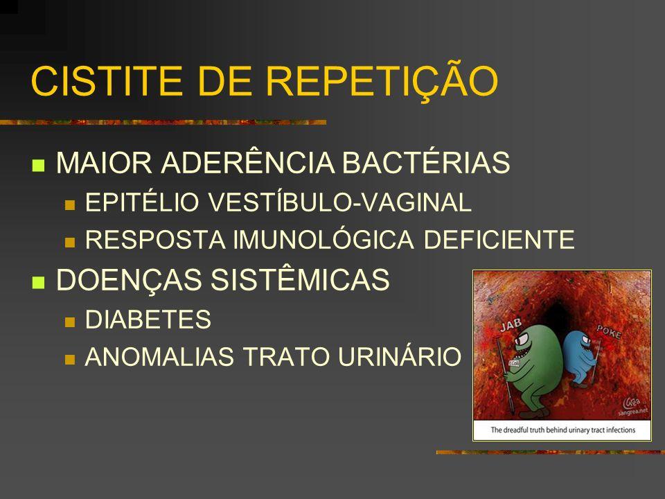 CISTITE DE REPETIÇÃO MAIOR ADERÊNCIA BACTÉRIAS DOENÇAS SISTÊMICAS