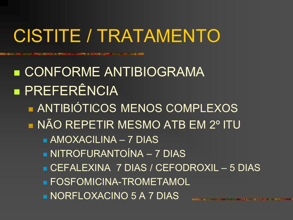 CISTITE / TRATAMENTO CONFORME ANTIBIOGRAMA PREFERÊNCIA