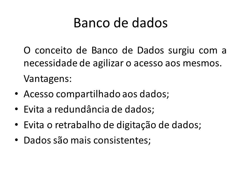 Banco de dados O conceito de Banco de Dados surgiu com a necessidade de agilizar o acesso aos mesmos.