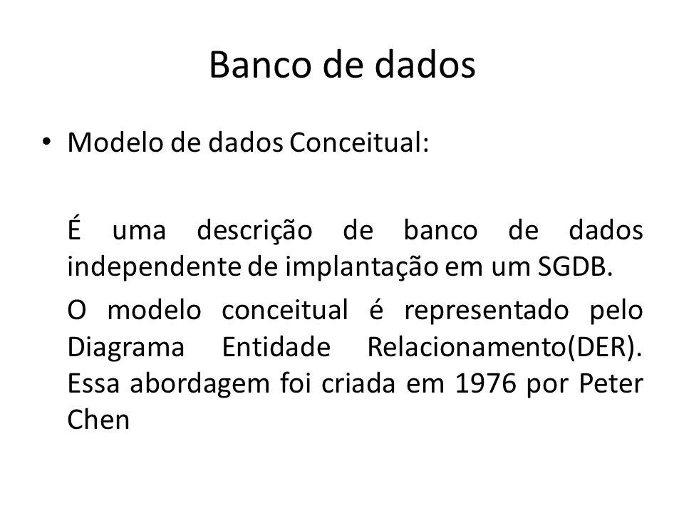 Banco de dados Modelo de dados Conceitual: