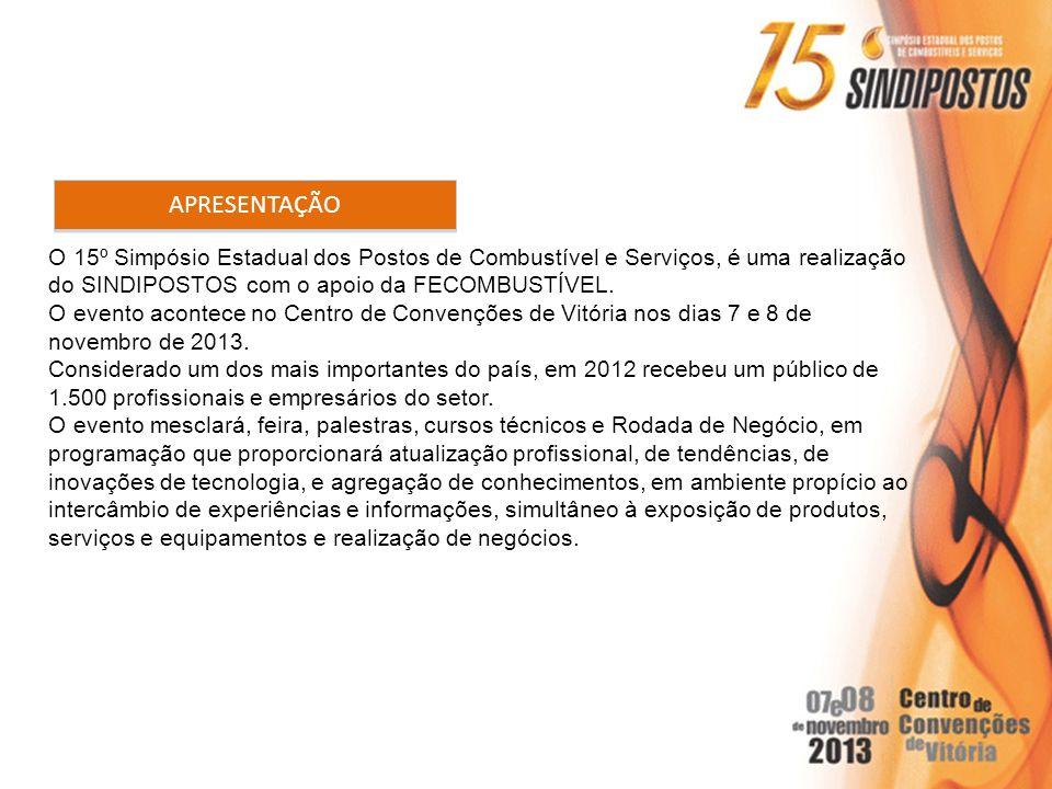 APRESENTAÇÃO O 15º Simpósio Estadual dos Postos de Combustível e Serviços, é uma realização. do SINDIPOSTOS com o apoio da FECOMBUSTÍVEL.
