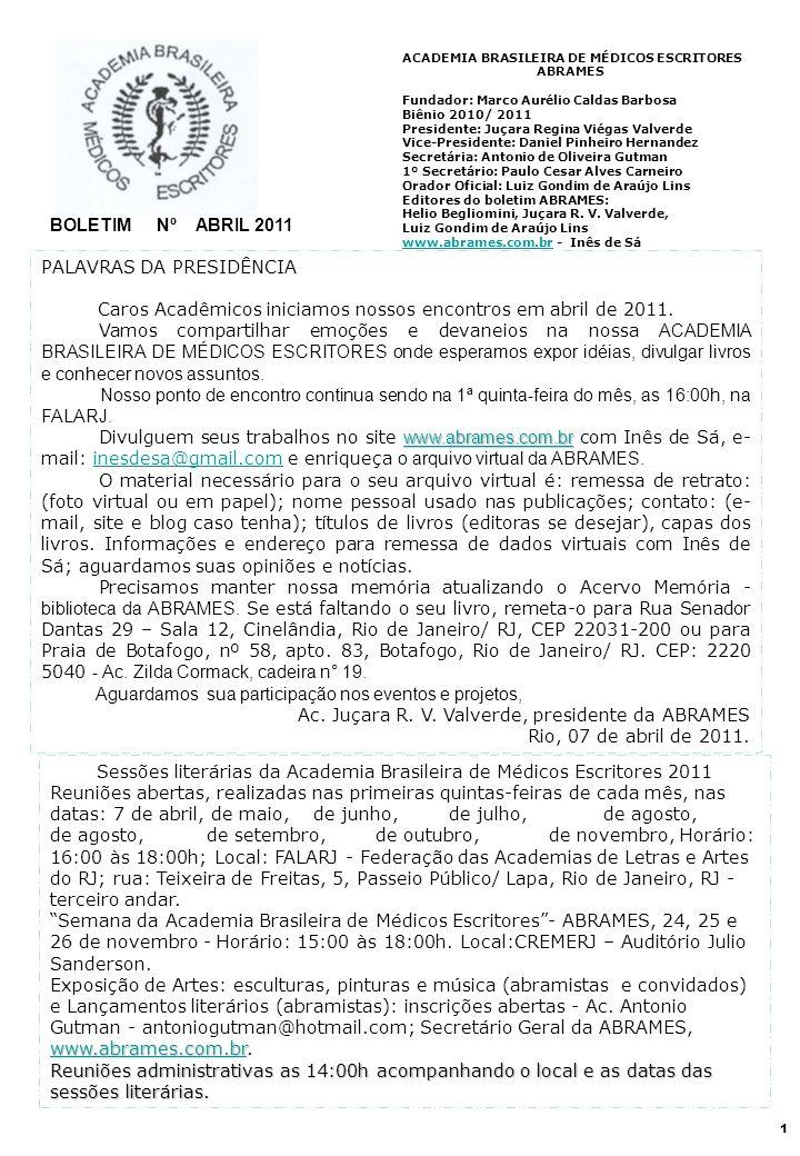 Sessões literárias da Academia Brasileira de Médicos Escritores 2011