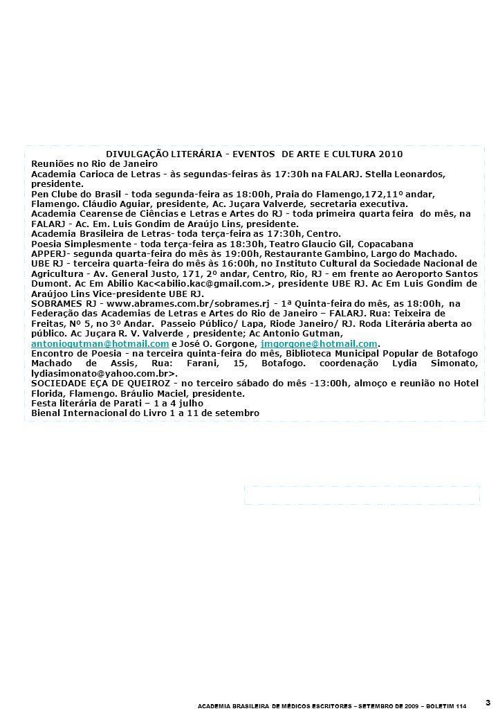 DIVULGAÇÃO LITERÁRIA - EVENTOS DE ARTE E CULTURA 2010