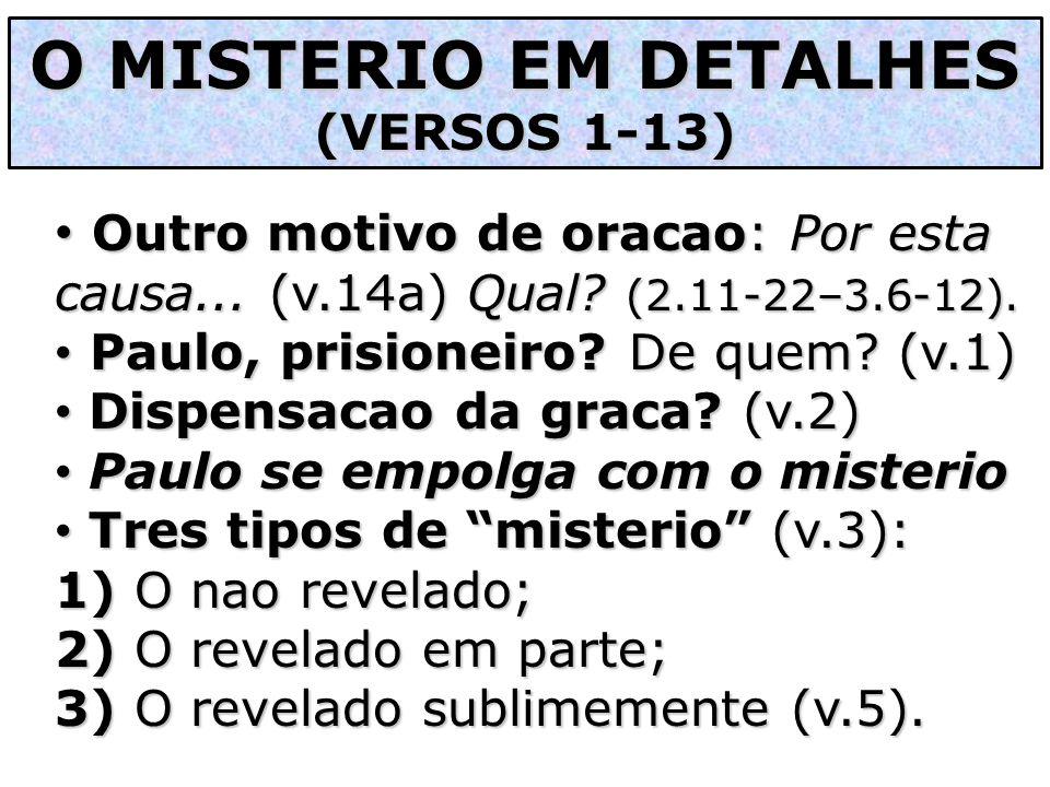 O MISTERIO EM DETALHES (VERSOS 1-13) Outro motivo de oracao: Por esta causa... (v.14a) Qual (2.11-22–3.6-12).