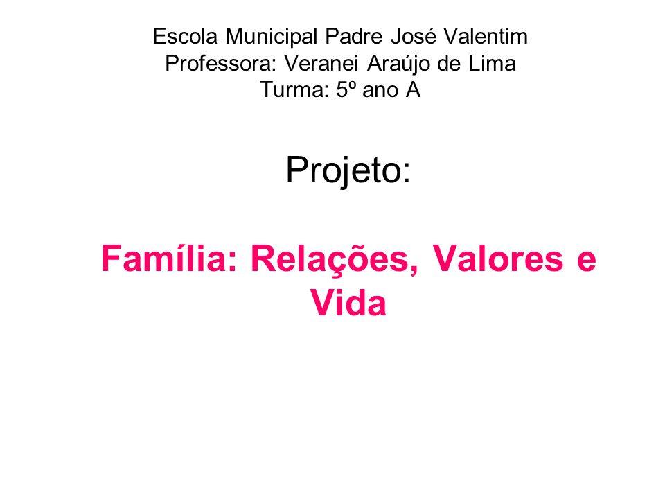 Projeto: Família: Relações, Valores e Vida