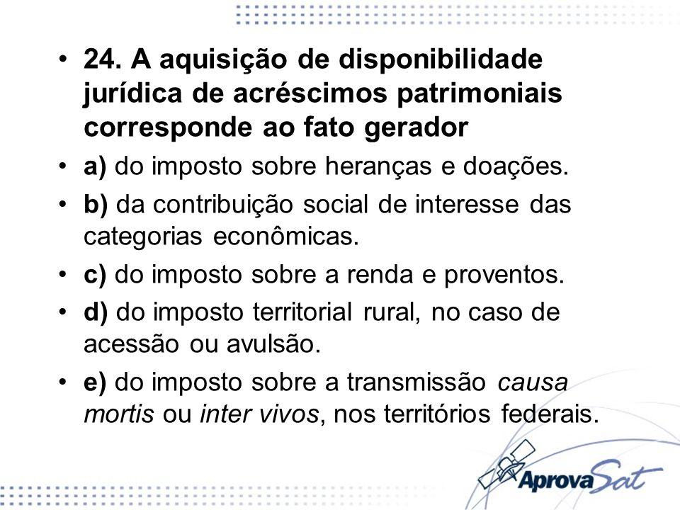 24. A aquisição de disponibilidade jurídica de acréscimos patrimoniais corresponde ao fato gerador