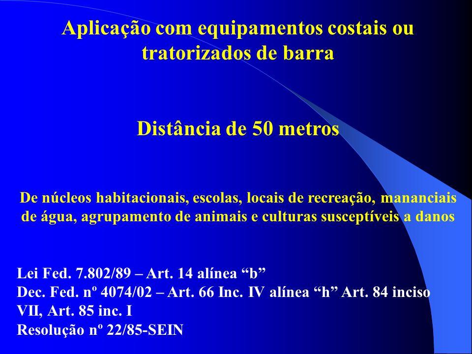 Aplicação com equipamentos costais ou tratorizados de barra