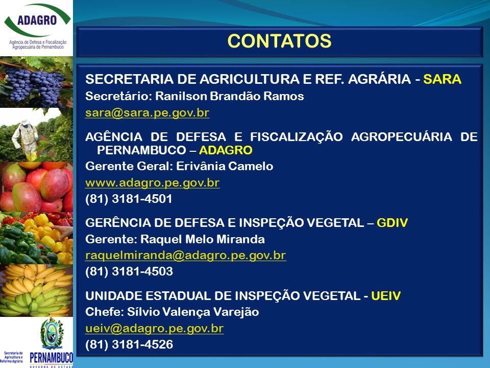 CONTATOS SECRETARIA DE AGRICULTURA E REF. AGRÁRIA - SARA