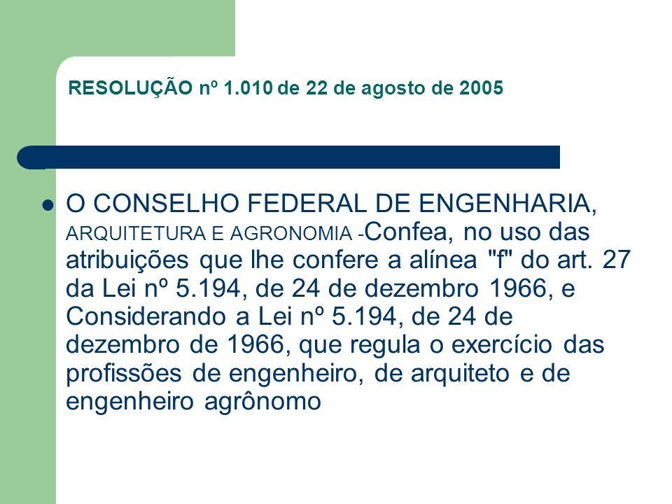 RESOLUÇÃO nº 1.010 de 22 de agosto de 2005