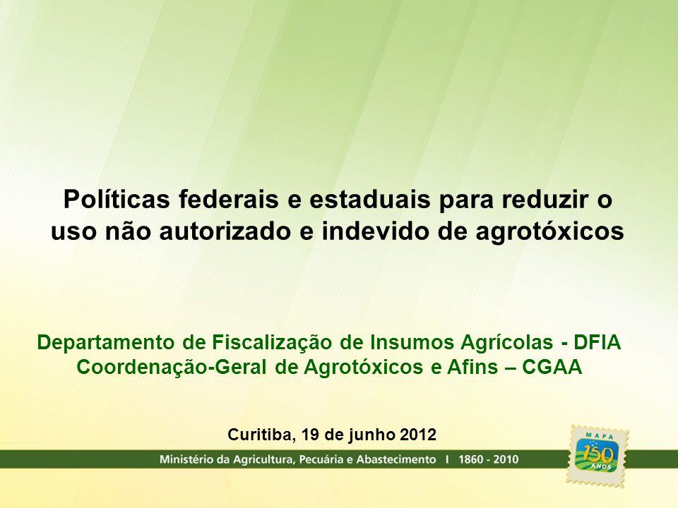 Políticas federais e estaduais para reduzir o uso não autorizado e indevido de agrotóxicos