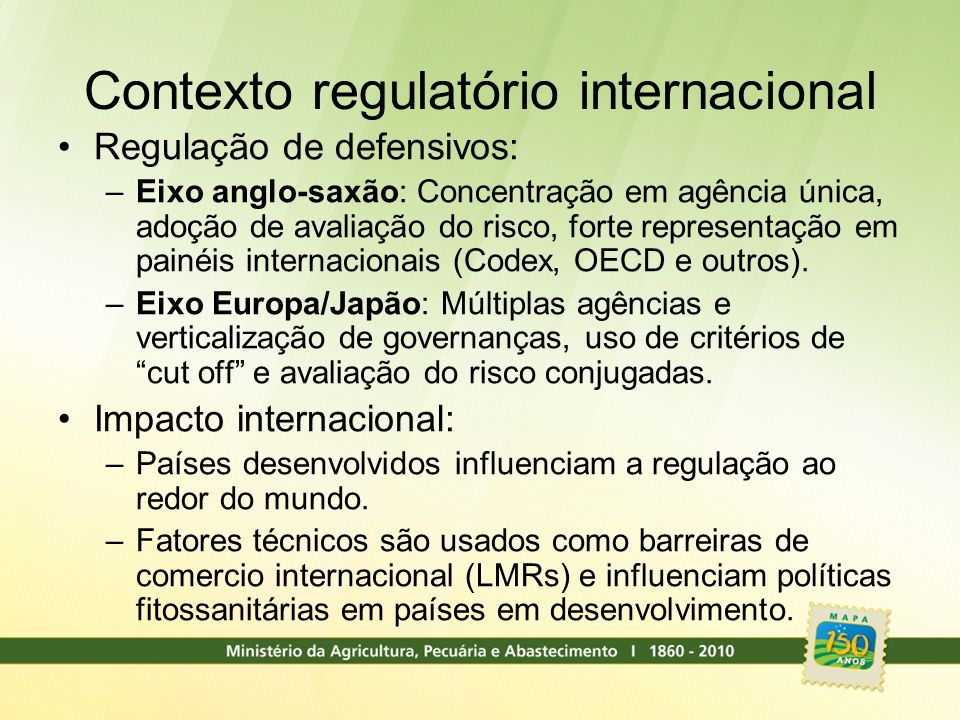 Contexto regulatório internacional