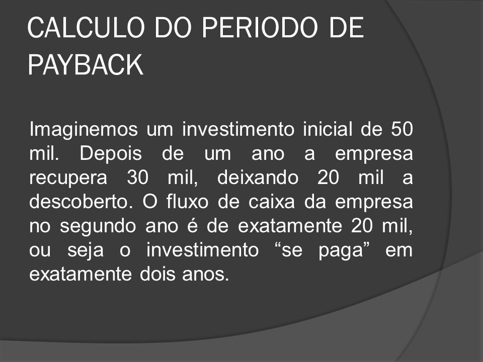 CALCULO DO PERIODO DE PAYBACK