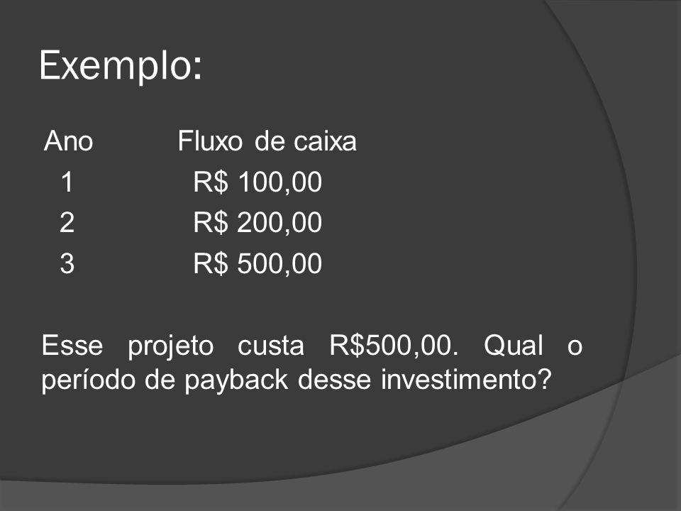 Exemplo: Ano Fluxo de caixa 1 R$ 100,00 2 R$ 200,00 3 R$ 500,00 Esse projeto custa R$500,00.