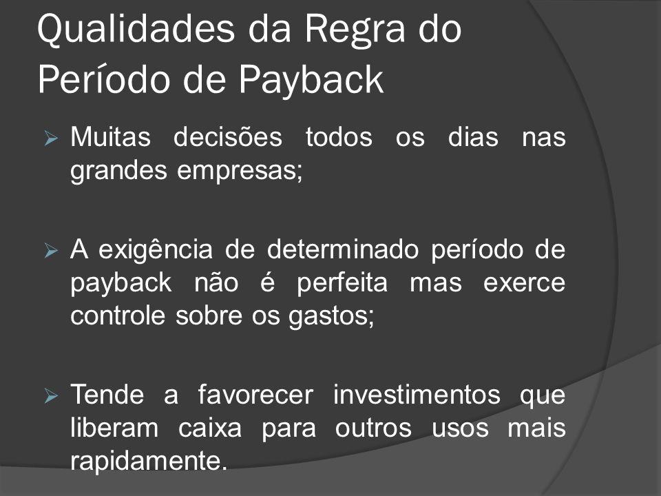 Qualidades da Regra do Período de Payback