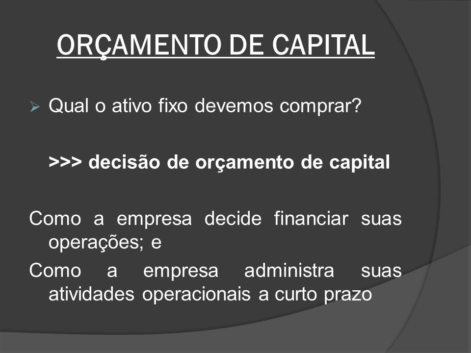 ORÇAMENTO DE CAPITAL Qual o ativo fixo devemos comprar