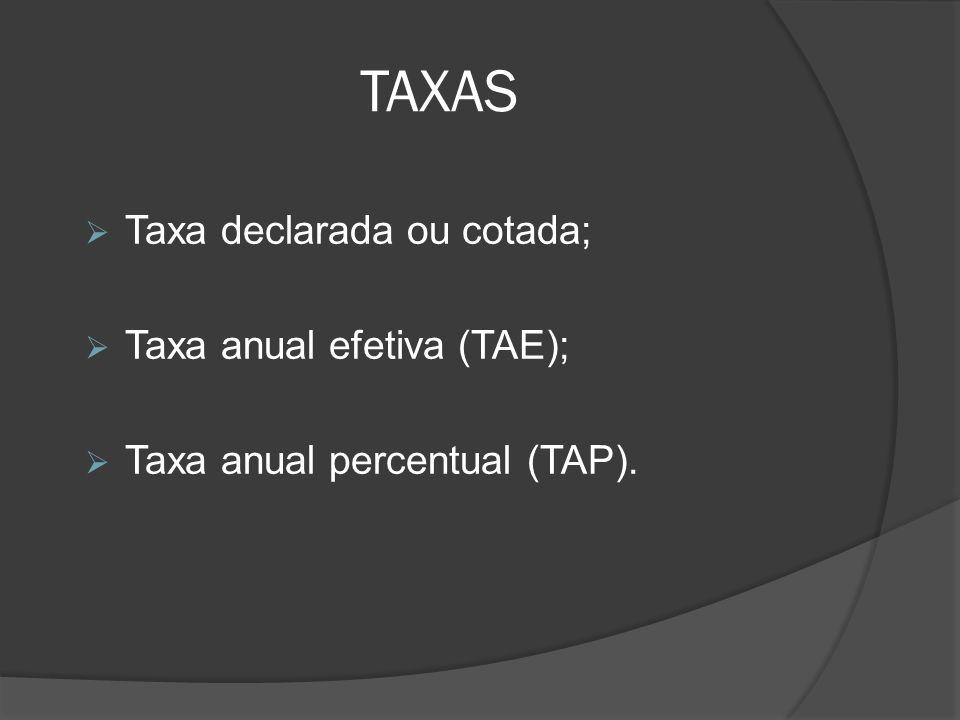 TAXAS Taxa declarada ou cotada; Taxa anual efetiva (TAE);