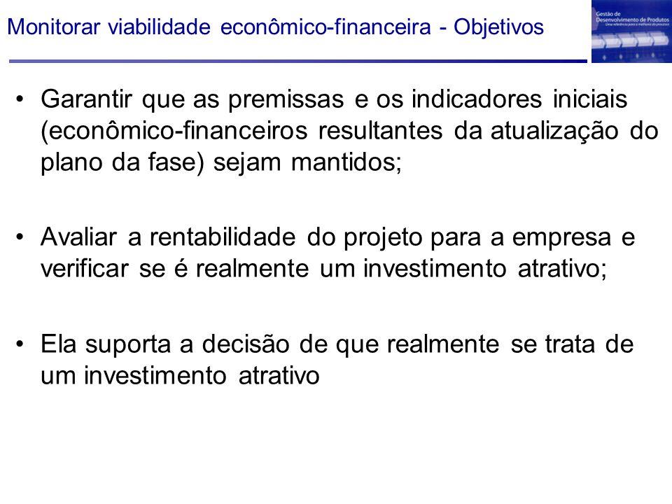 Monitorar viabilidade econômico-financeira - Objetivos