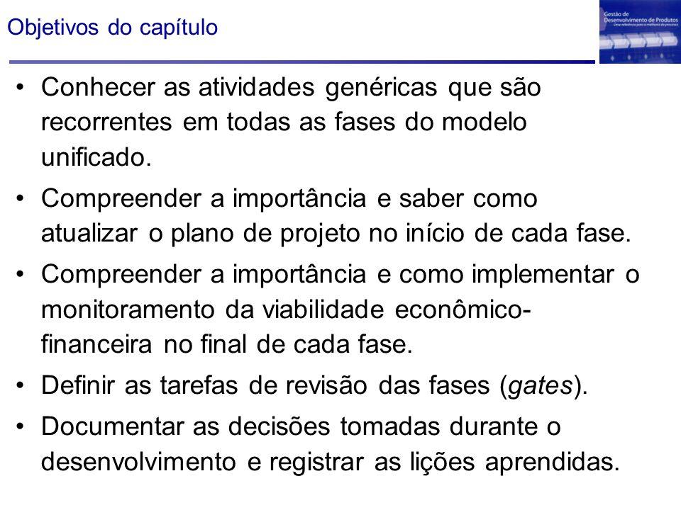 Definir as tarefas de revisão das fases (gates).