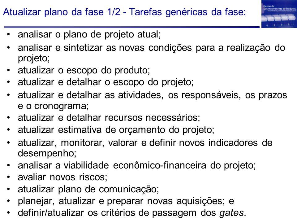 Atualizar plano da fase 1/2 - Tarefas genéricas da fase: