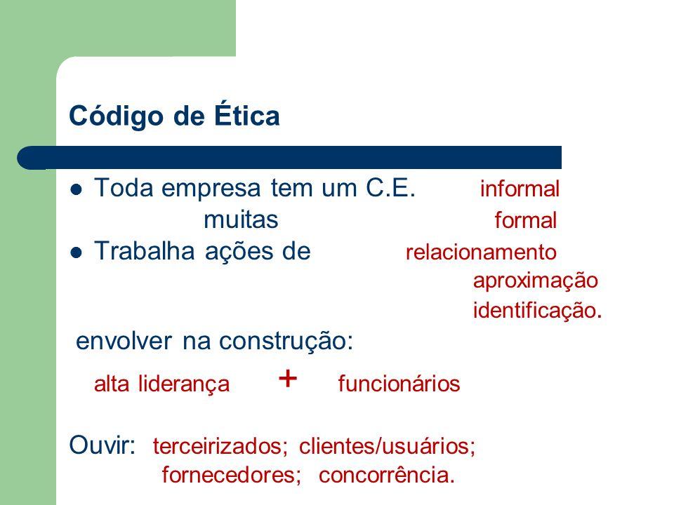 Código de Ética Toda empresa tem um C.E. informal muitas formal