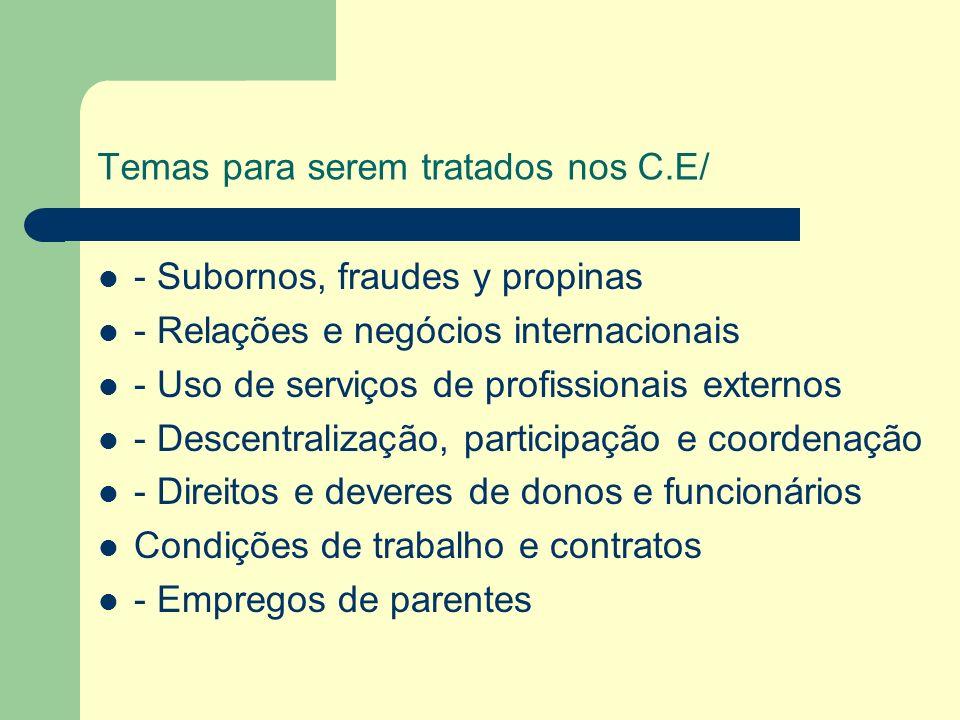 Temas para serem tratados nos C.E/