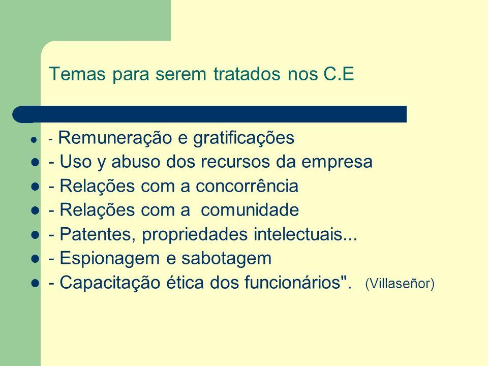 Temas para serem tratados nos C.E