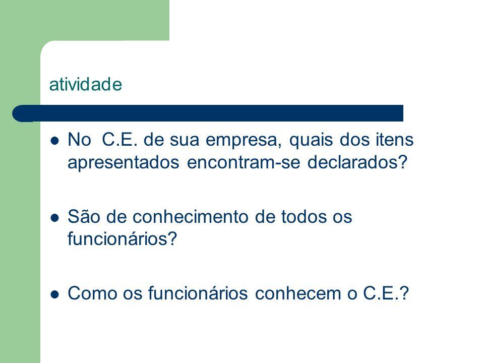 atividade No C.E. de sua empresa, quais dos itens apresentados encontram-se declarados São de conhecimento de todos os funcionários