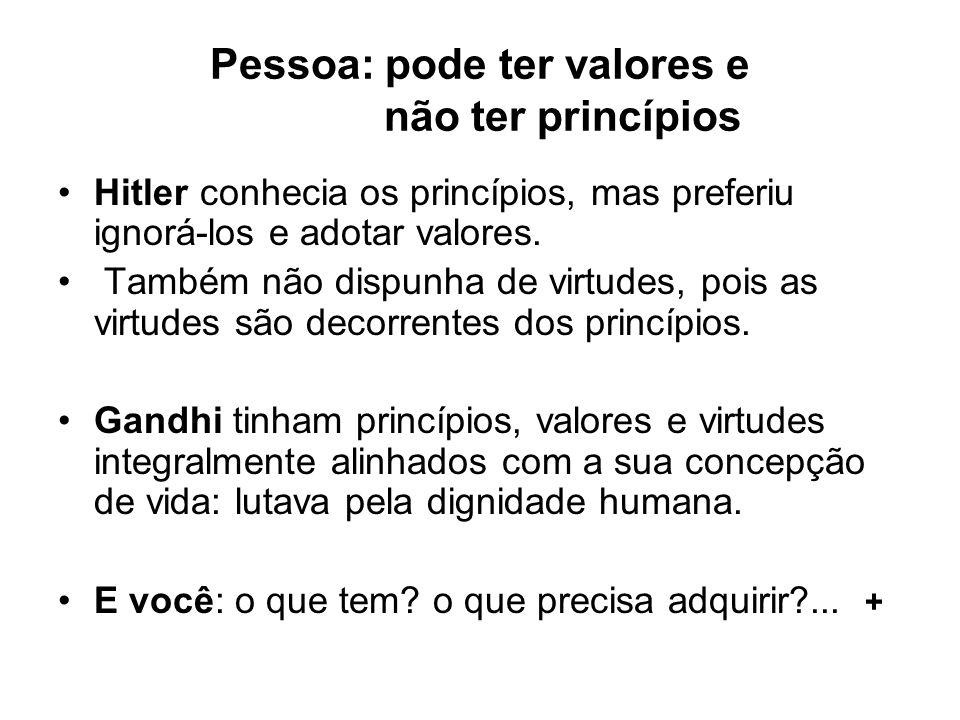Pessoa: pode ter valores e não ter princípios