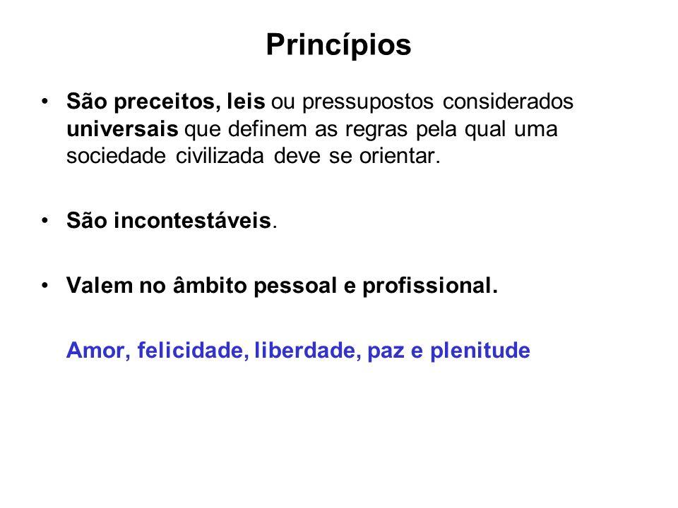 Princípios São preceitos, leis ou pressupostos considerados universais que definem as regras pela qual uma sociedade civilizada deve se orientar.