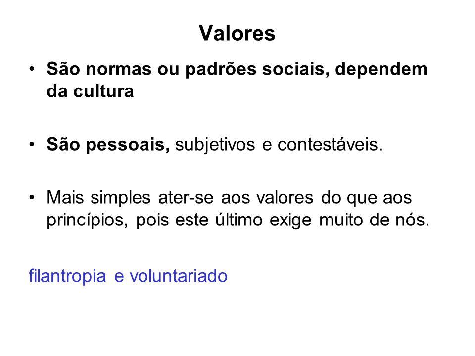 Valores São normas ou padrões sociais, dependem da cultura