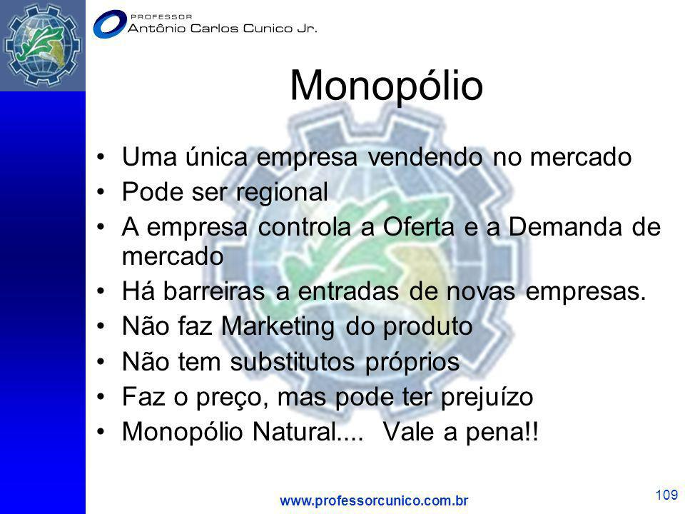 Monopólio Uma única empresa vendendo no mercado Pode ser regional