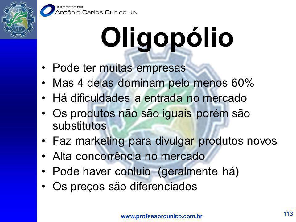 Oligopólio Pode ter muitas empresas Mas 4 delas dominam pelo menos 60%