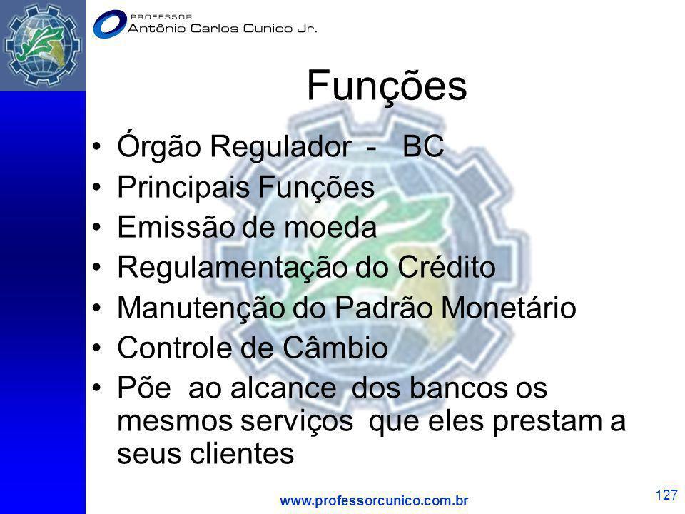 Funções Órgão Regulador - BC Principais Funções Emissão de moeda