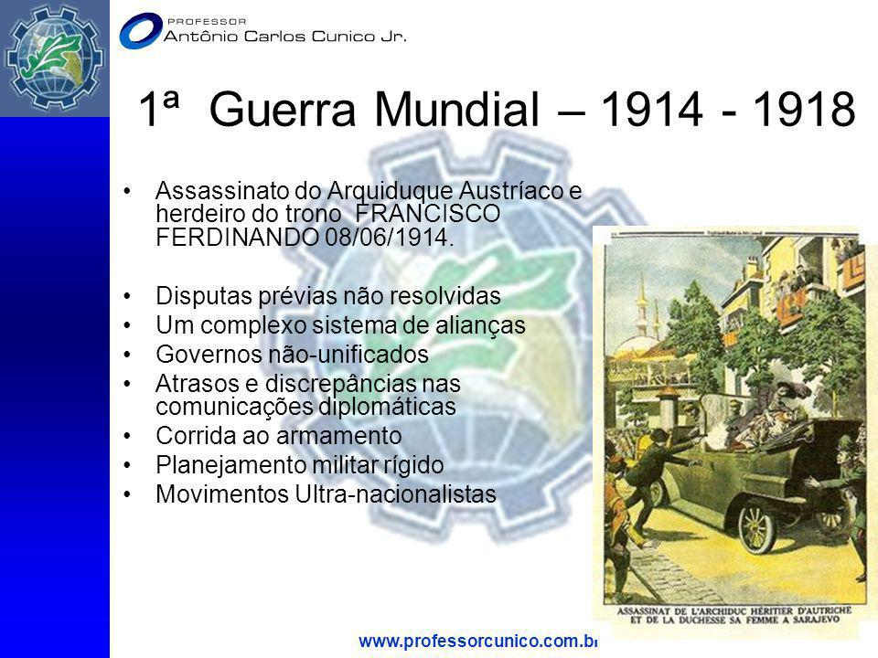 1ª Guerra Mundial – 1914 - 1918 Assassinato do Arquiduque Austríaco e herdeiro do trono FRANCISCO FERDINANDO 08/06/1914.