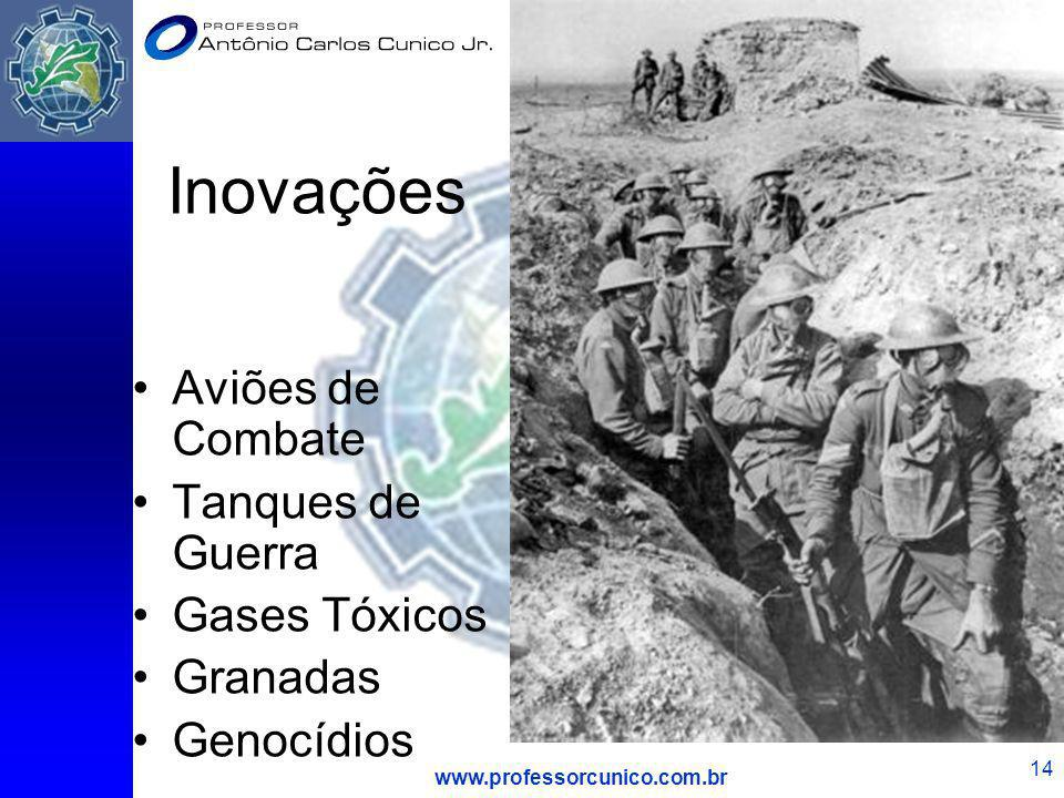 Inovações Aviões de Combate Tanques de Guerra Gases Tóxicos Granadas