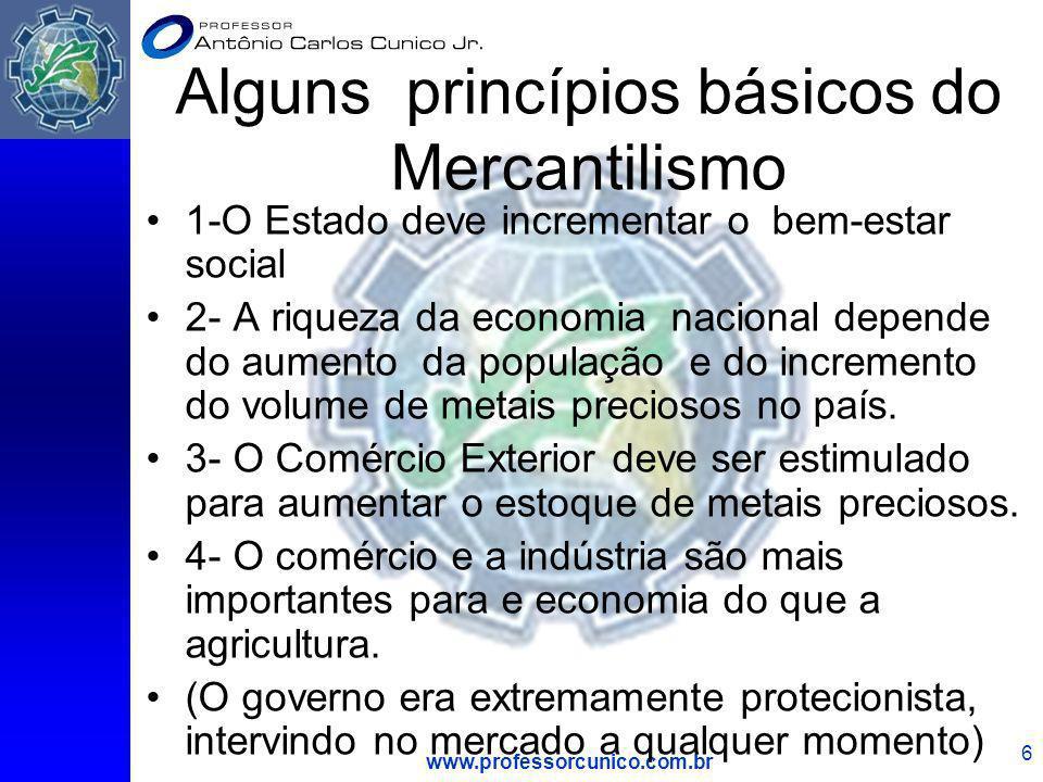 Alguns princípios básicos do Mercantilismo