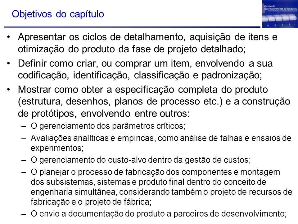 Objetivos do capítulo Apresentar os ciclos de detalhamento, aquisição de itens e otimização do produto da fase de projeto detalhado;