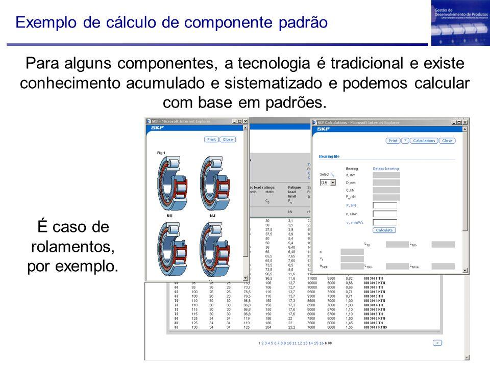 Exemplo de cálculo de componente padrão