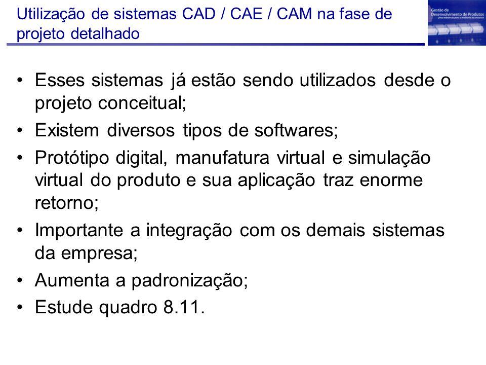 Utilização de sistemas CAD / CAE / CAM na fase de projeto detalhado