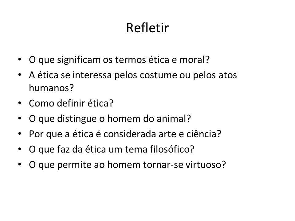 Refletir O que significam os termos ética e moral